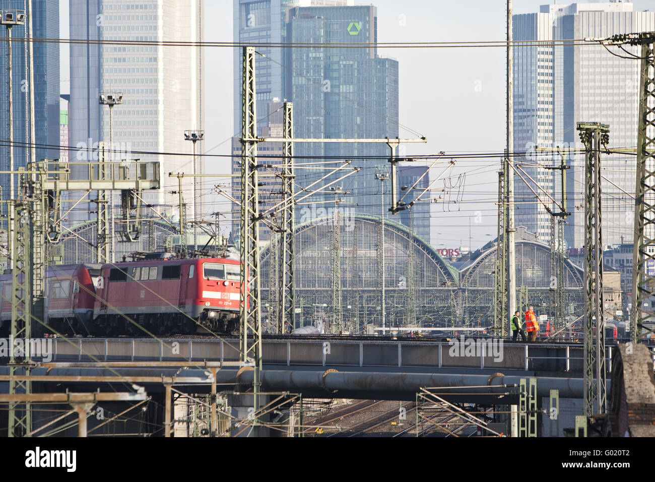 Frankfurt main station with a moving train of the German Federal Railways - Stock Image