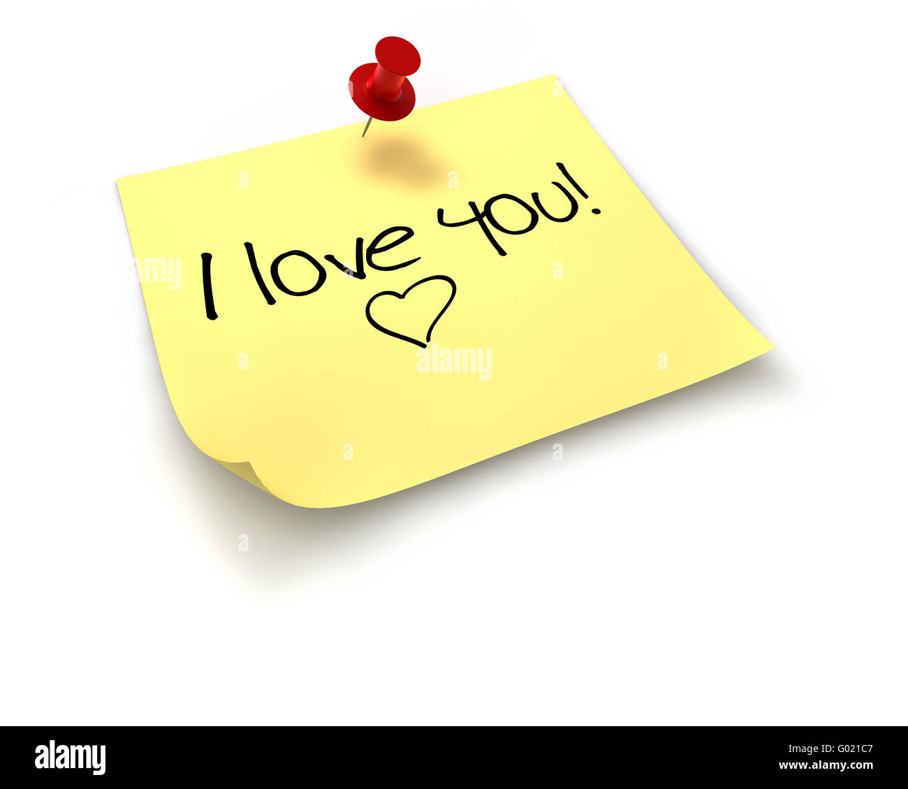 A D Pinned Yellow Note With A Red Pin With The Words I Love You