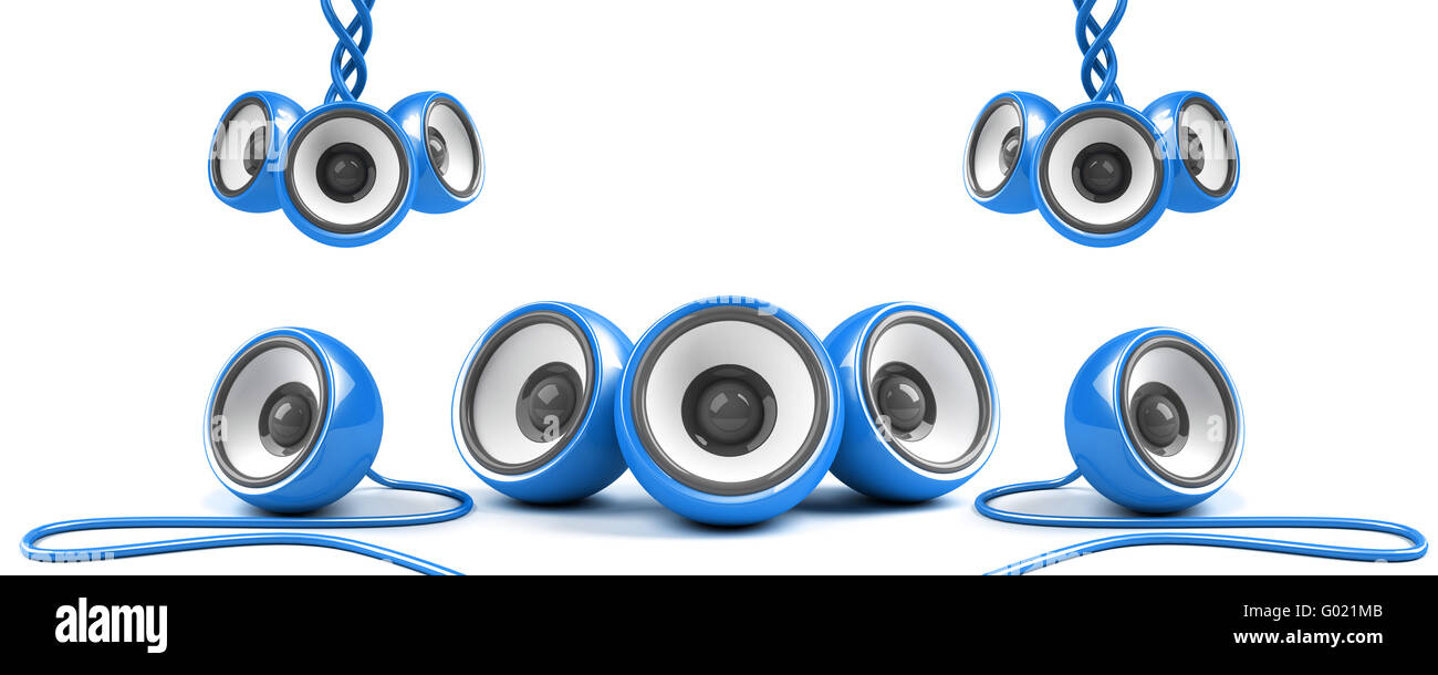 blue stylish high-power stereo system with cables - Stock Image