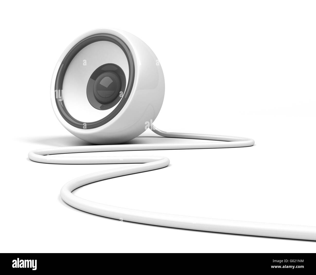 white speaker with cable over white background - Stock Image
