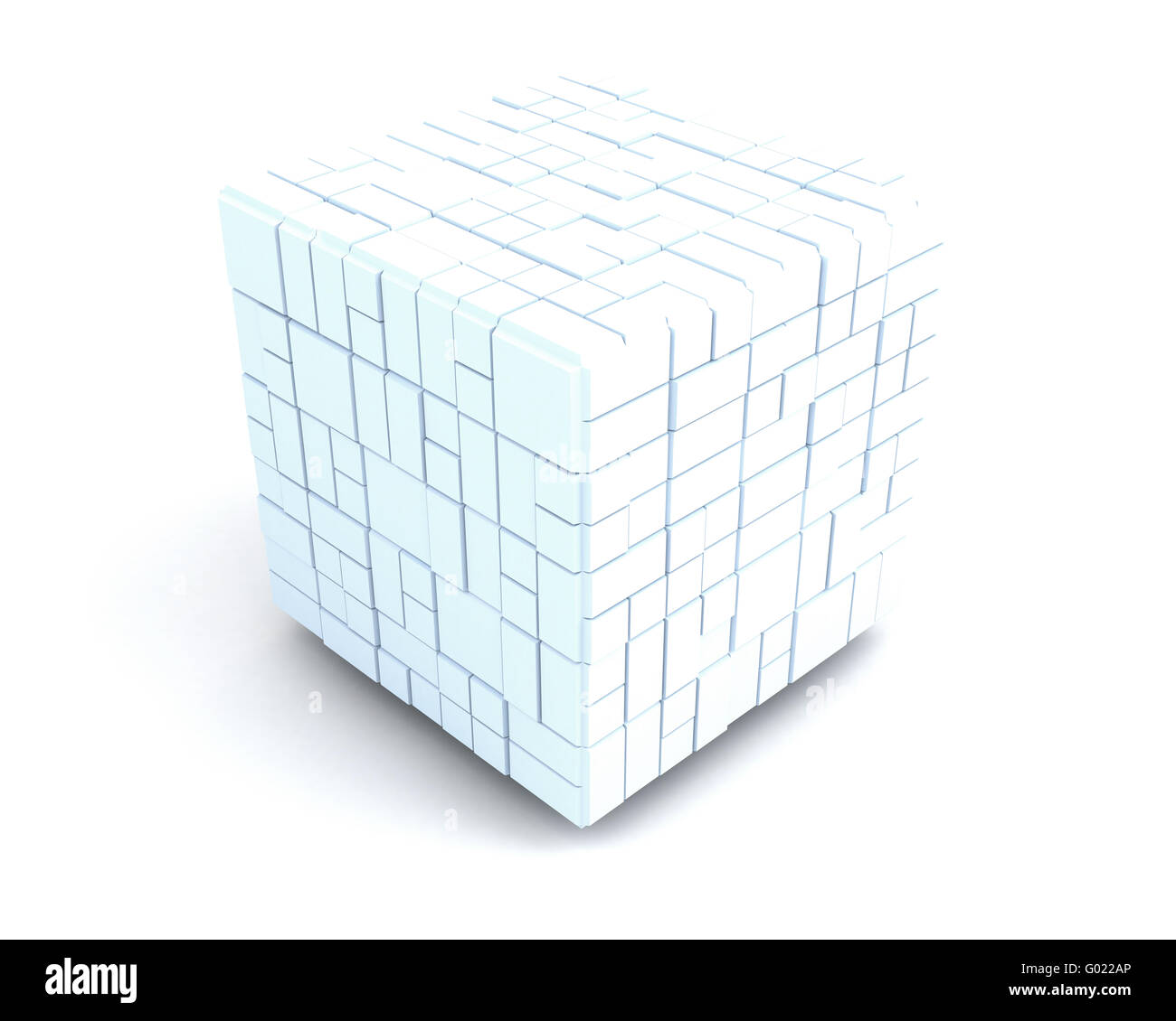big white cube consisting of many small ones. team Stock Photo