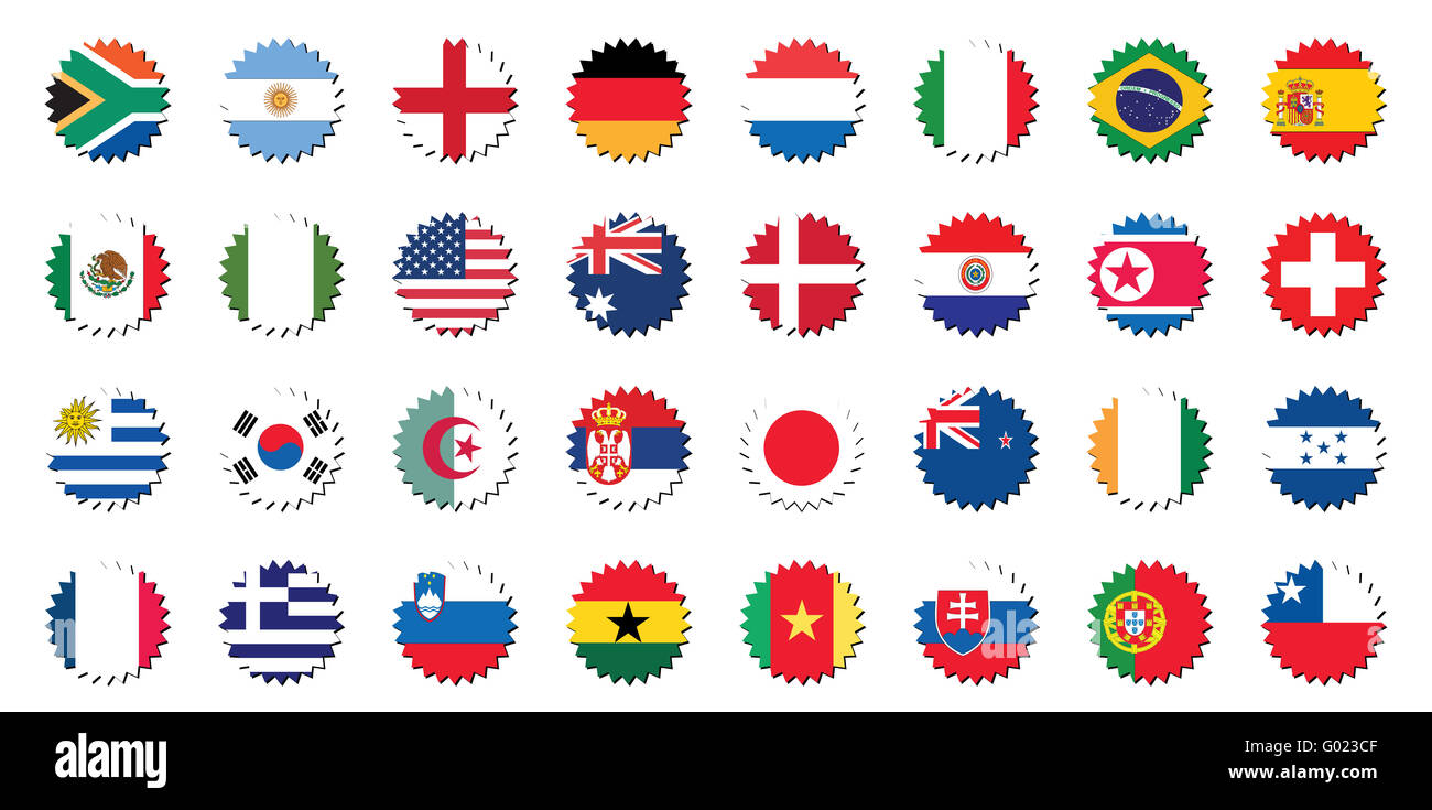countries badges in sticker form, world cup 2010 - Stock Image