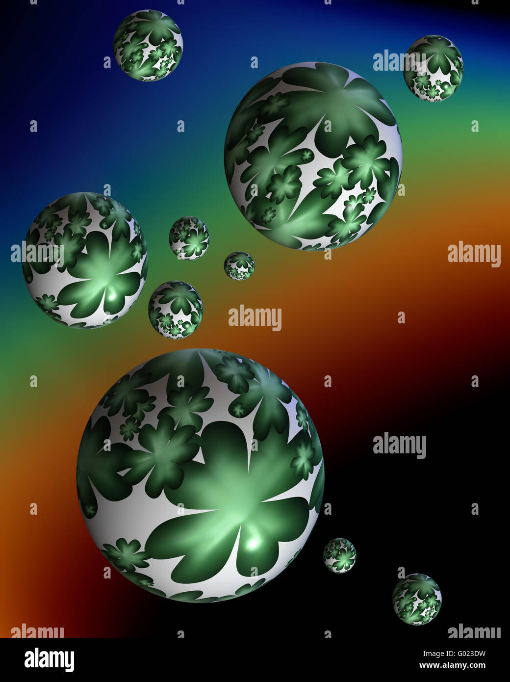 Shamrock, four leafed clover bubbles  floating over the rainbow - Stock Image