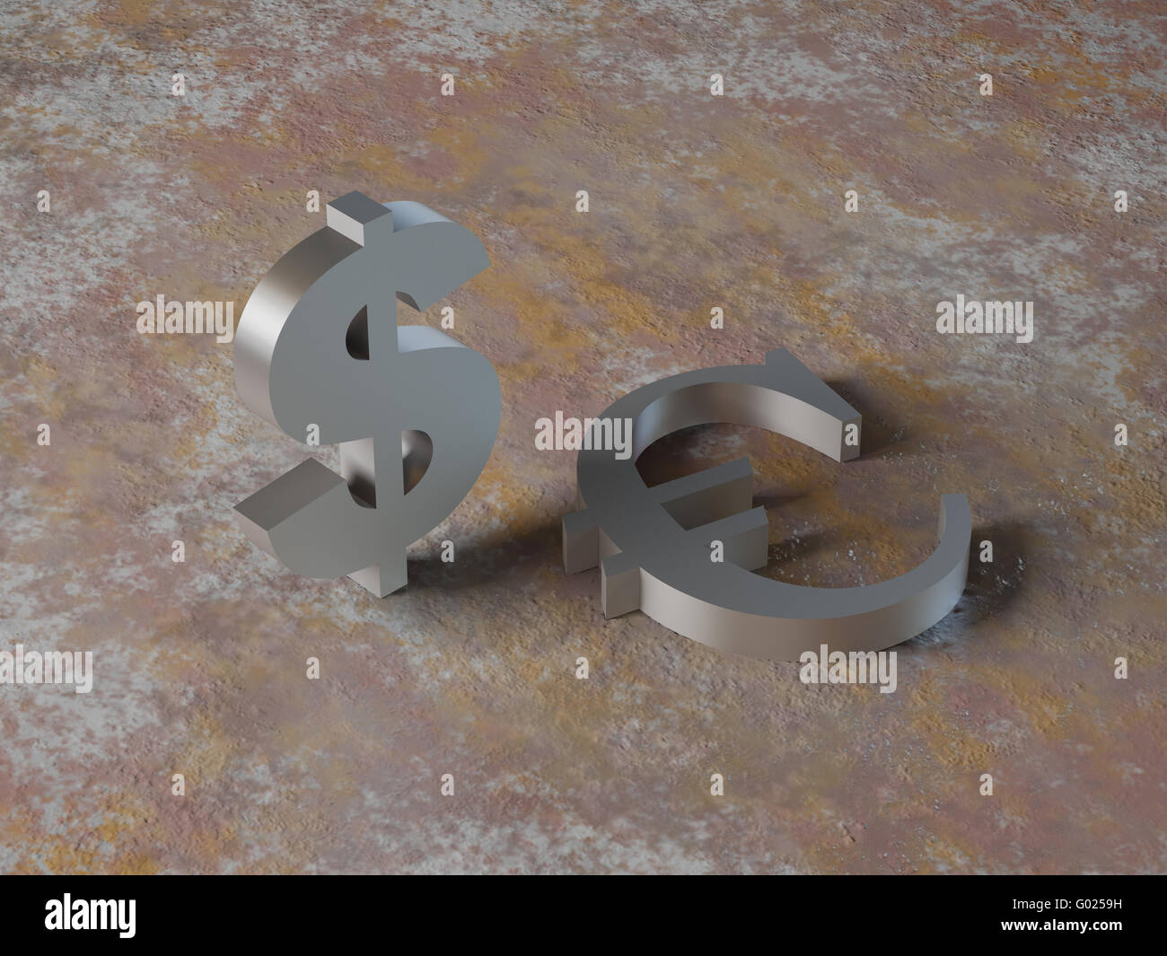 High resolution image symbol dollar and euro. 3d illustration over  rust backgrounds. - Stock Image