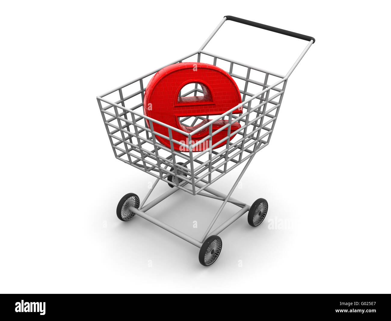 Consumer's basket and symbol of the Internet. 3d - Stock Image