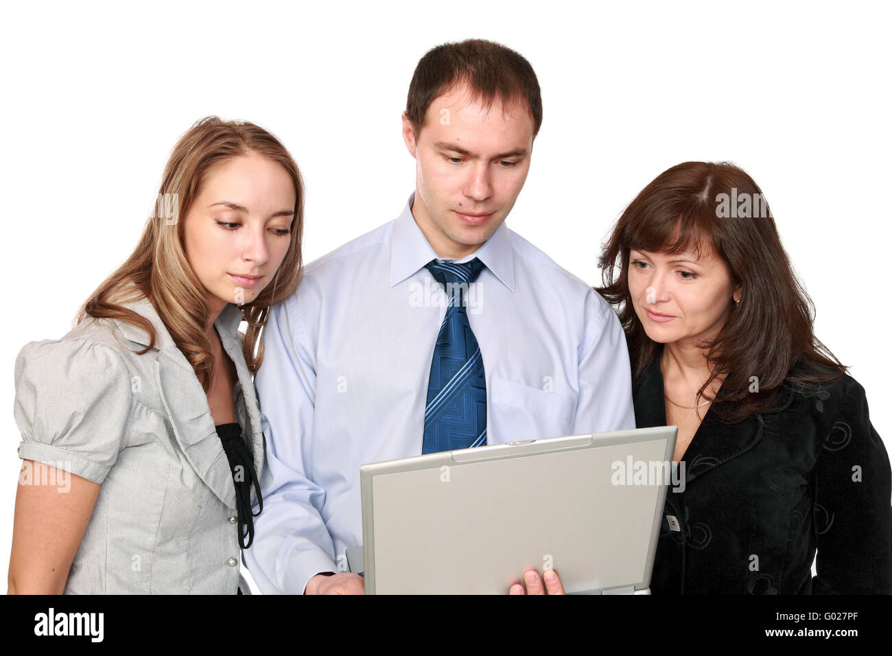 The man and women in front of the screen laptop - Stock Image