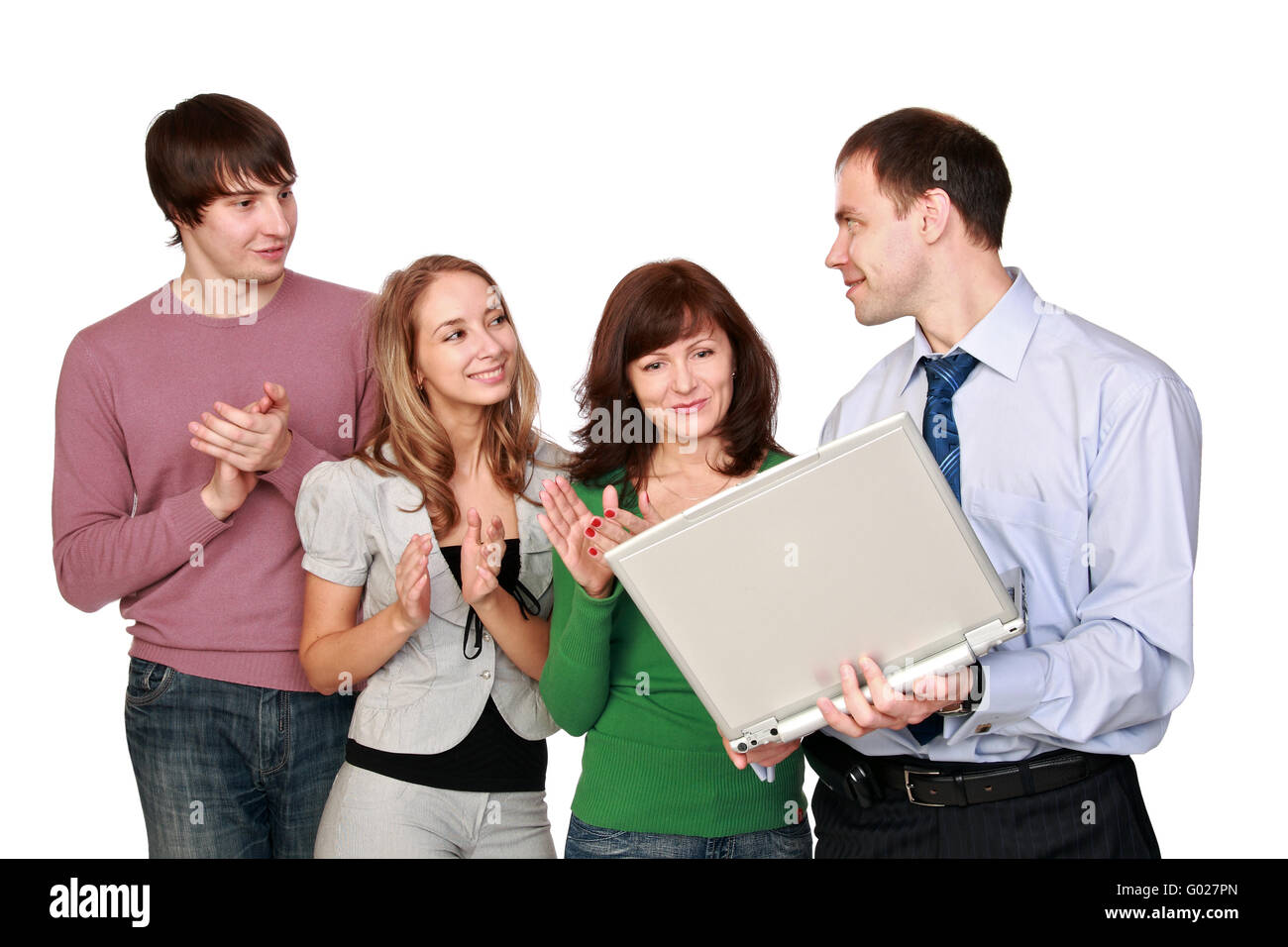 The group of office workers is pleased to good news - Stock Image