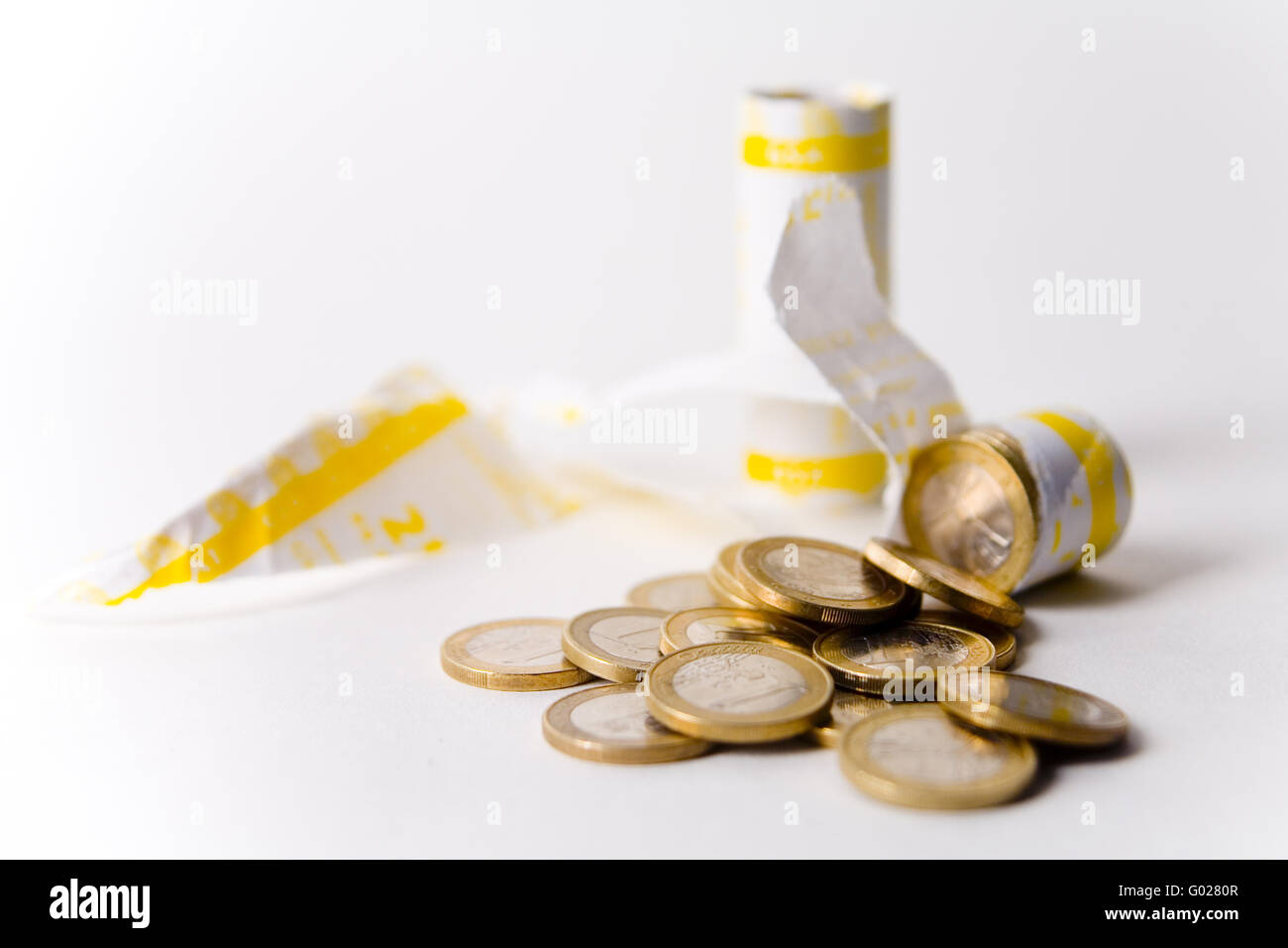 wrapped euro coins - Stock Image