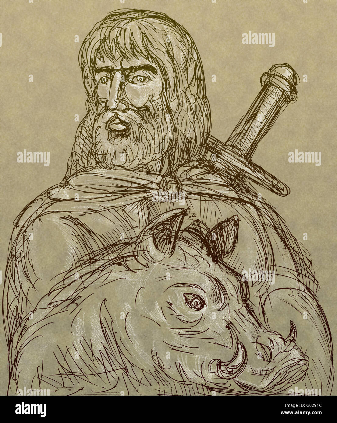 Norse god of agriculture with sword and boar - Stock Image