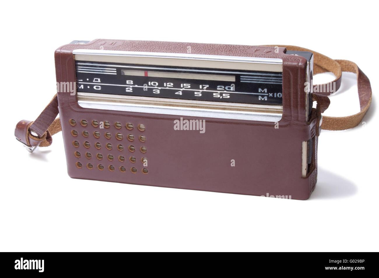 Old Transistor Radio isolated on the white background - Stock Image