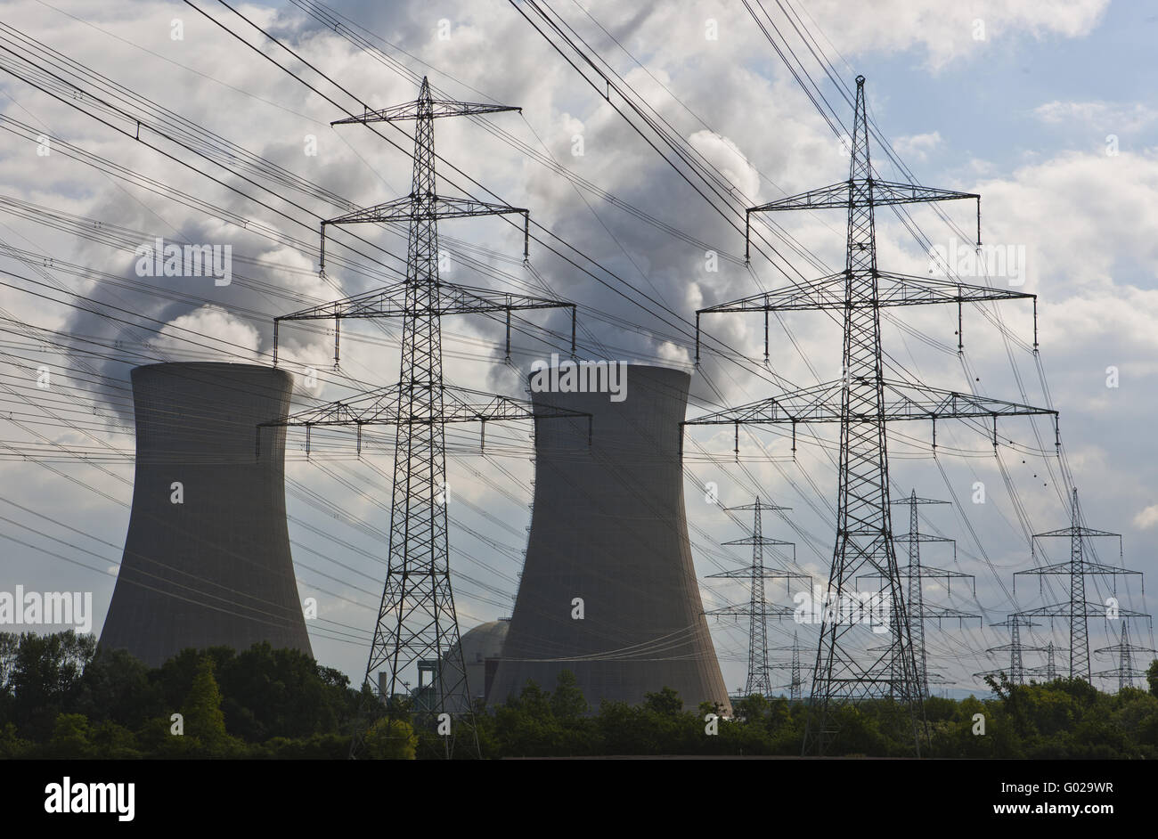 Cooling towers of nuclear power plant nuclear power plant - Stock Image