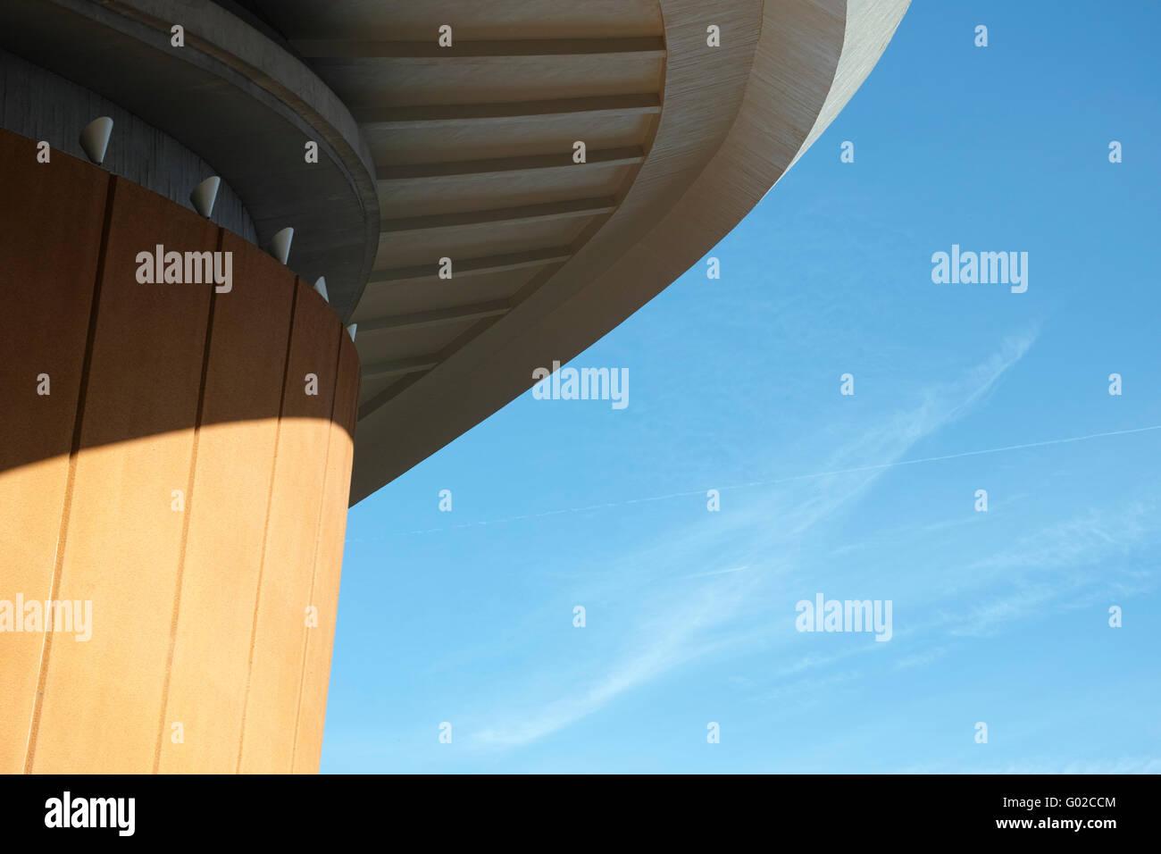 The Haus der Kulturen der Welt (House of World Cultures) in Berlin, roof and facade details. - Stock Image