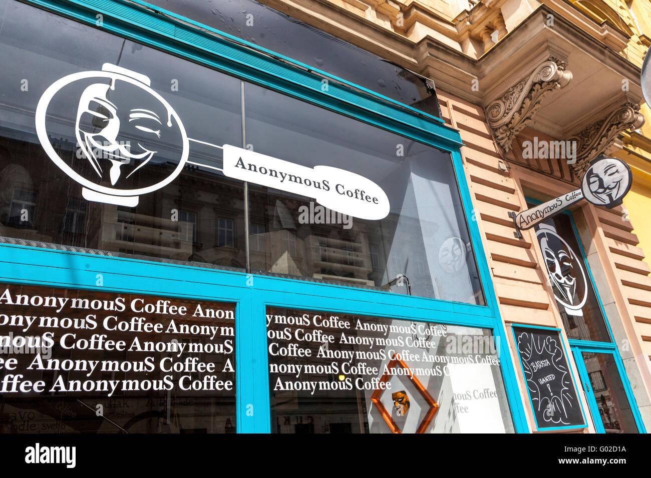 Anonymous Coffee. window display,Zitna street, Prague. Czech Republic - Stock Image