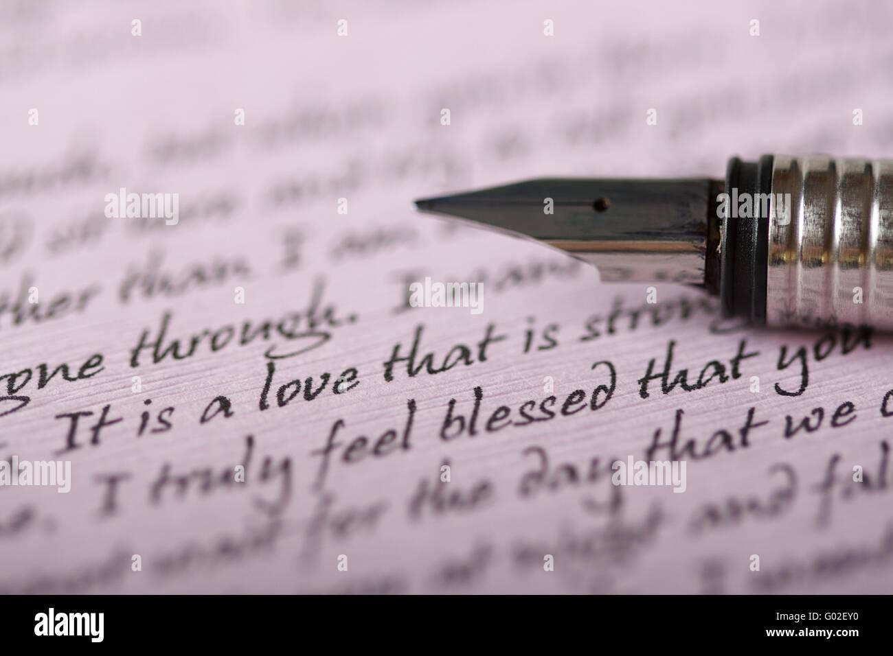 A pen on a love letter written on purple paper stock photo a pen on a love letter written on purple paper altavistaventures Gallery