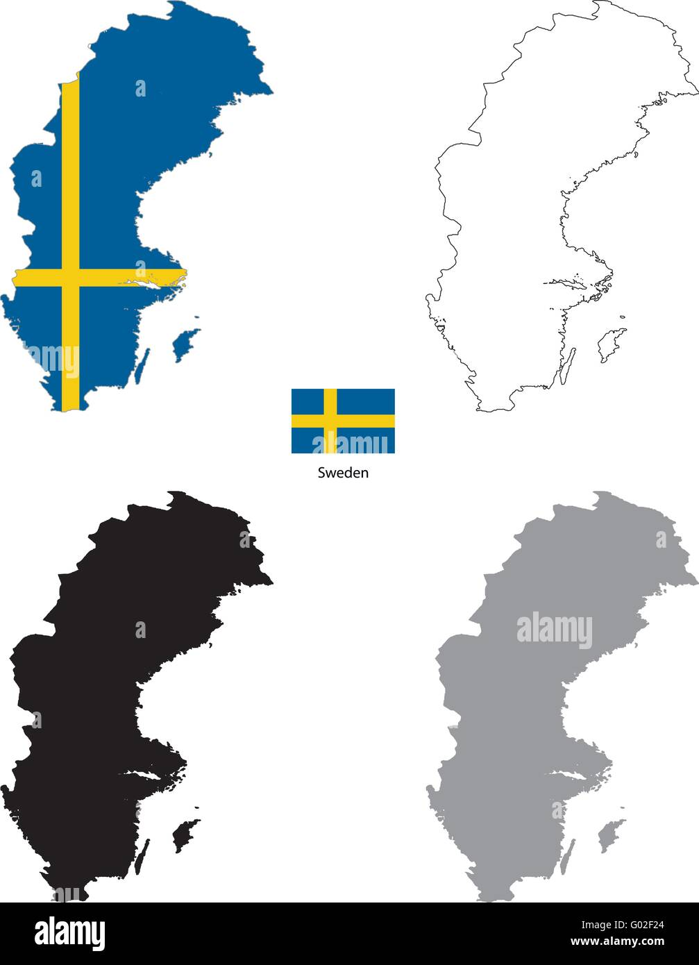 Sweden country black silhouette and with flag on background - Stock Image