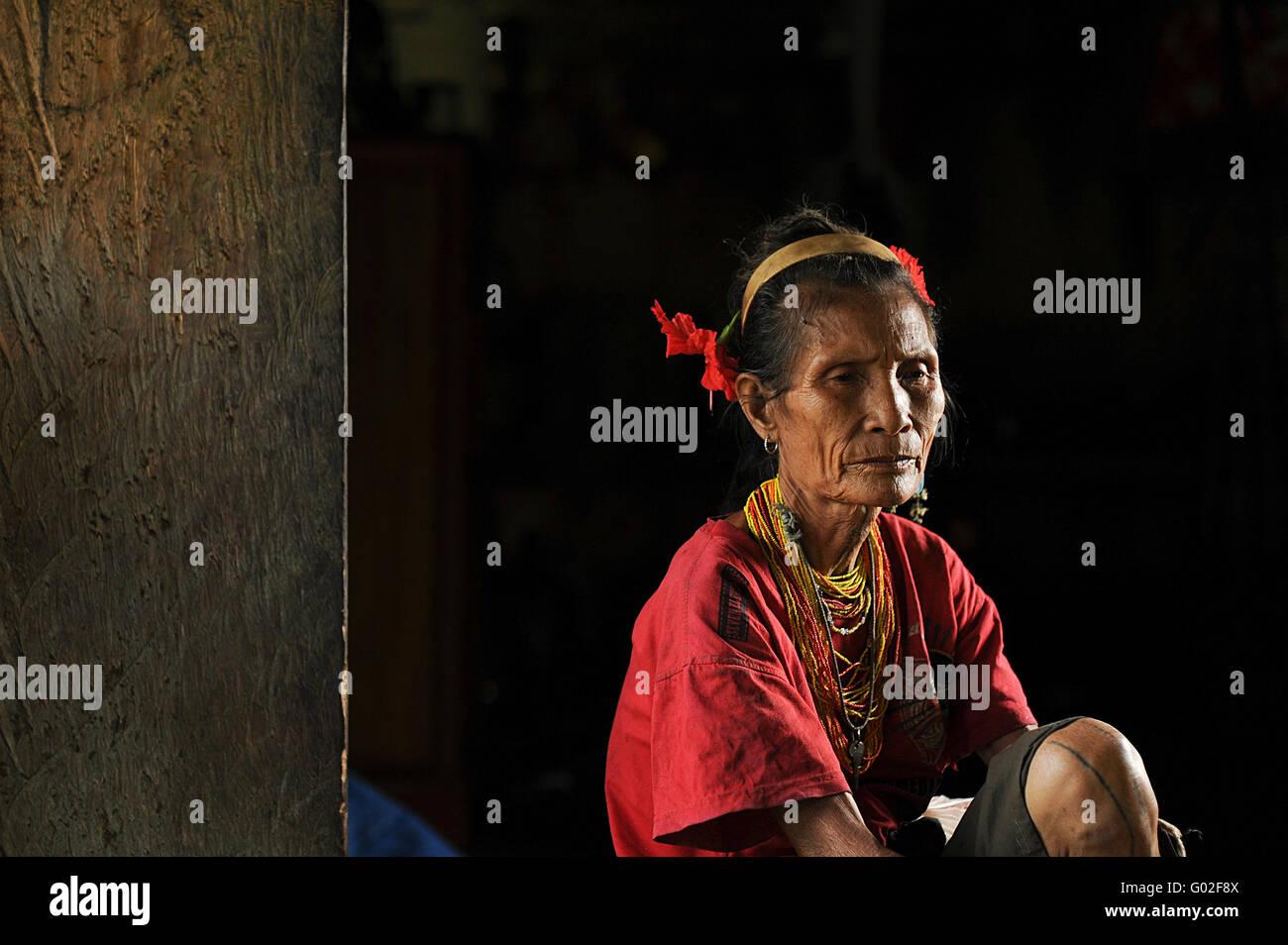 old women of Mentawai.The indigenous inhabitants ethnic of the islands in Muara Siberut - Stock Image
