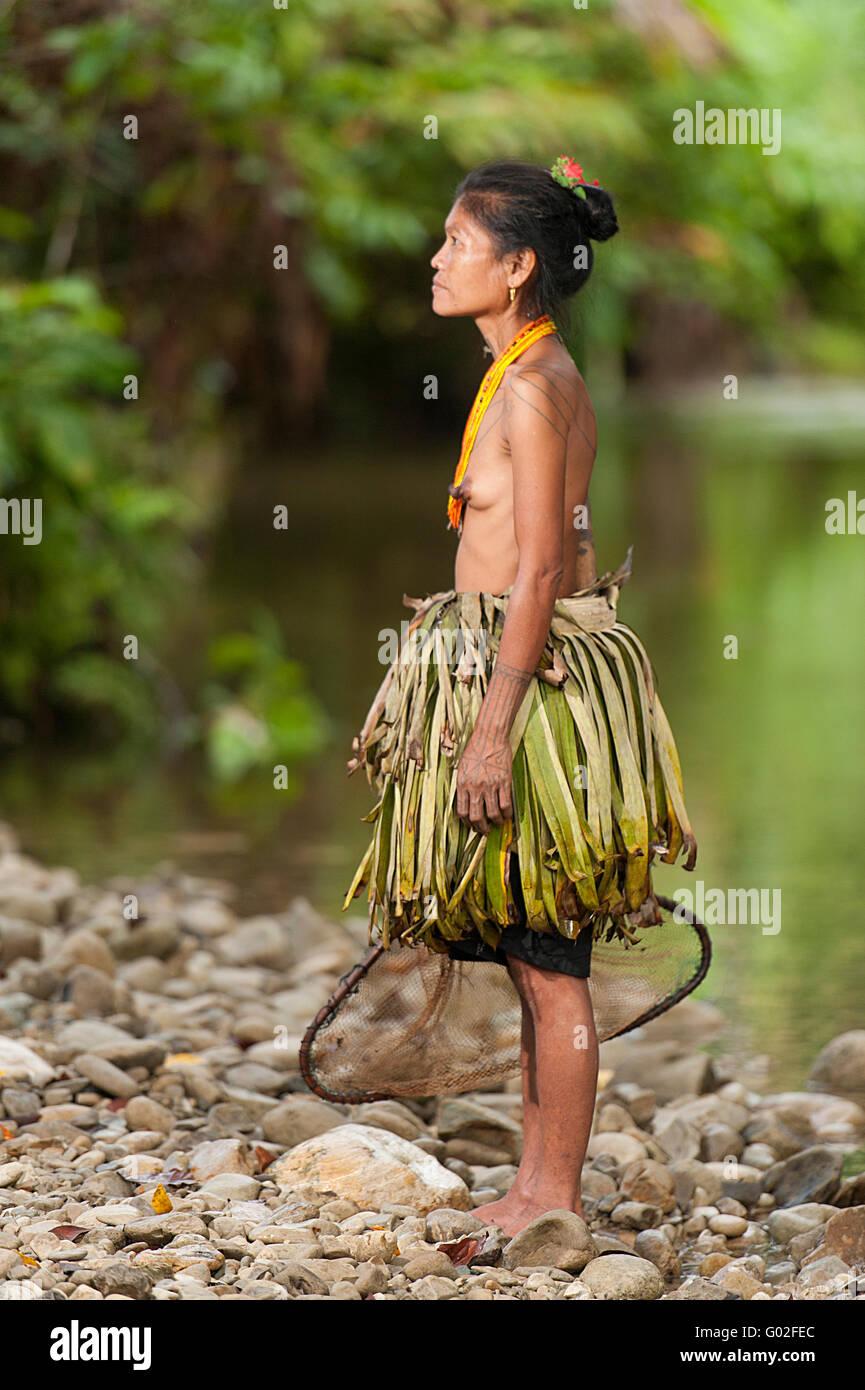 Mentawai women pose for camera. - Stock Image