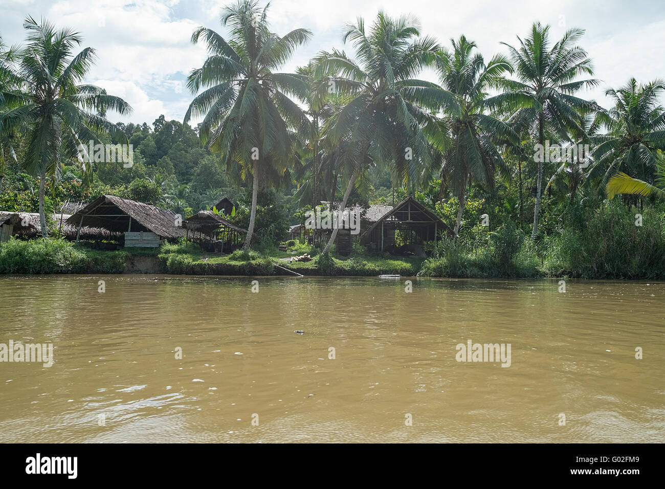 The village and the house of Mentawai tribe. - Stock Image