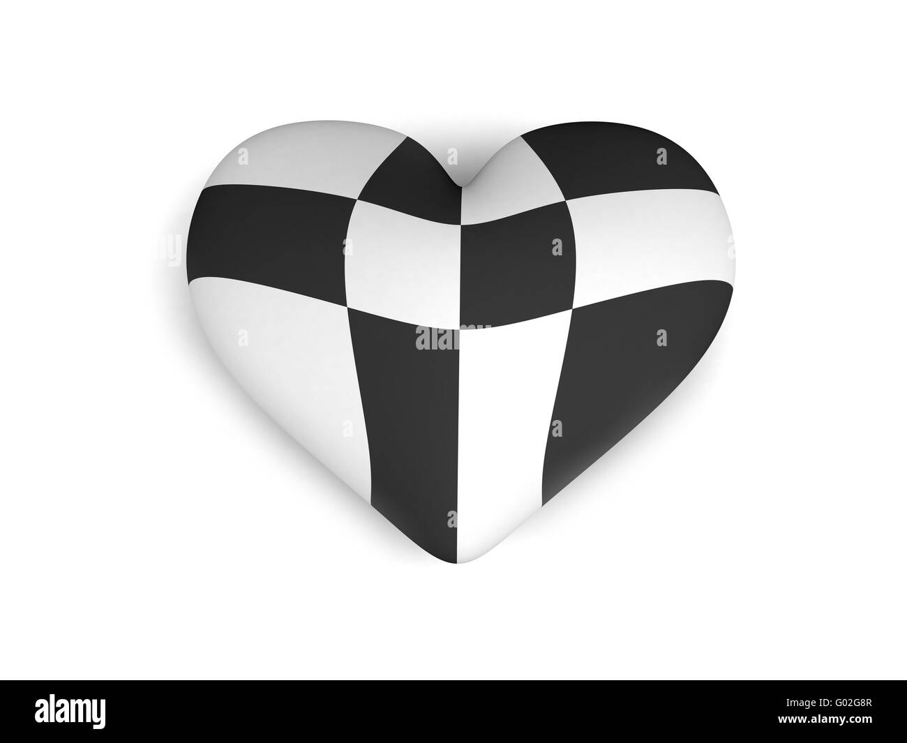 black and white heart on the white background - Stock Image