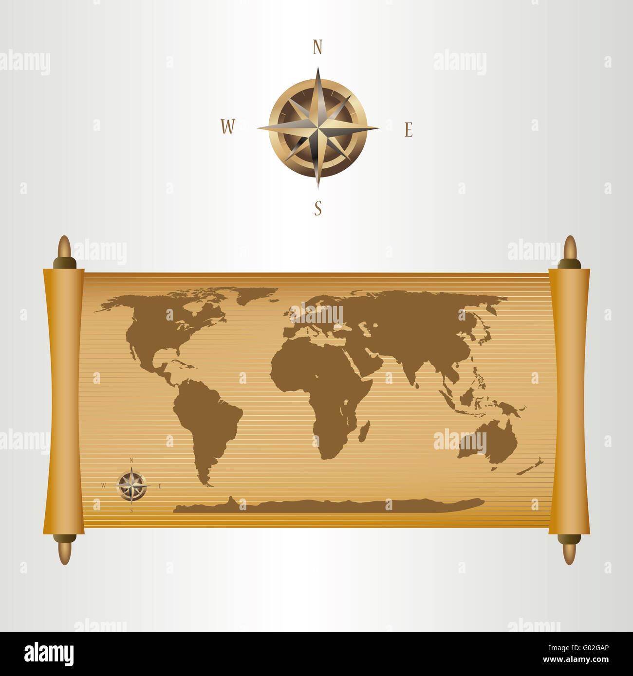 brown world map on papirus with gold fill and a compass ...