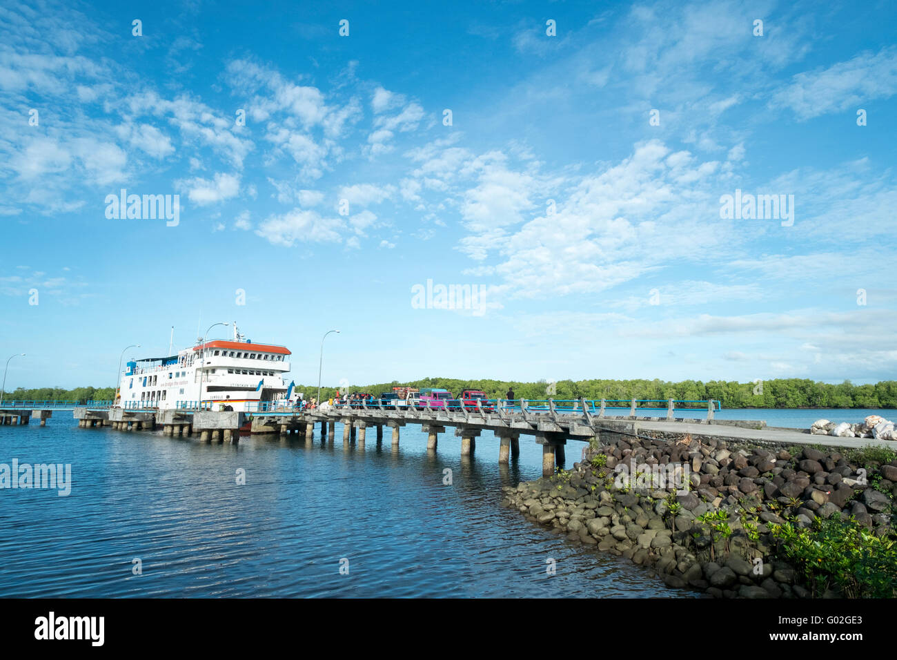 The port of Muara Siberut for ship and ferry from Padang Port - Stock Image
