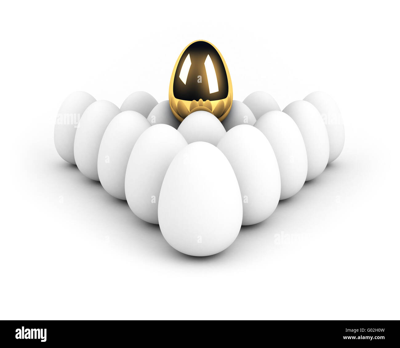 unique egg above the crowd leadership concept - Stock Image