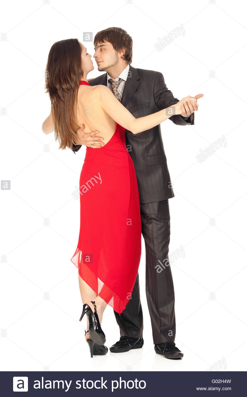 passionate dance couples in love isolated on white - Stock Image