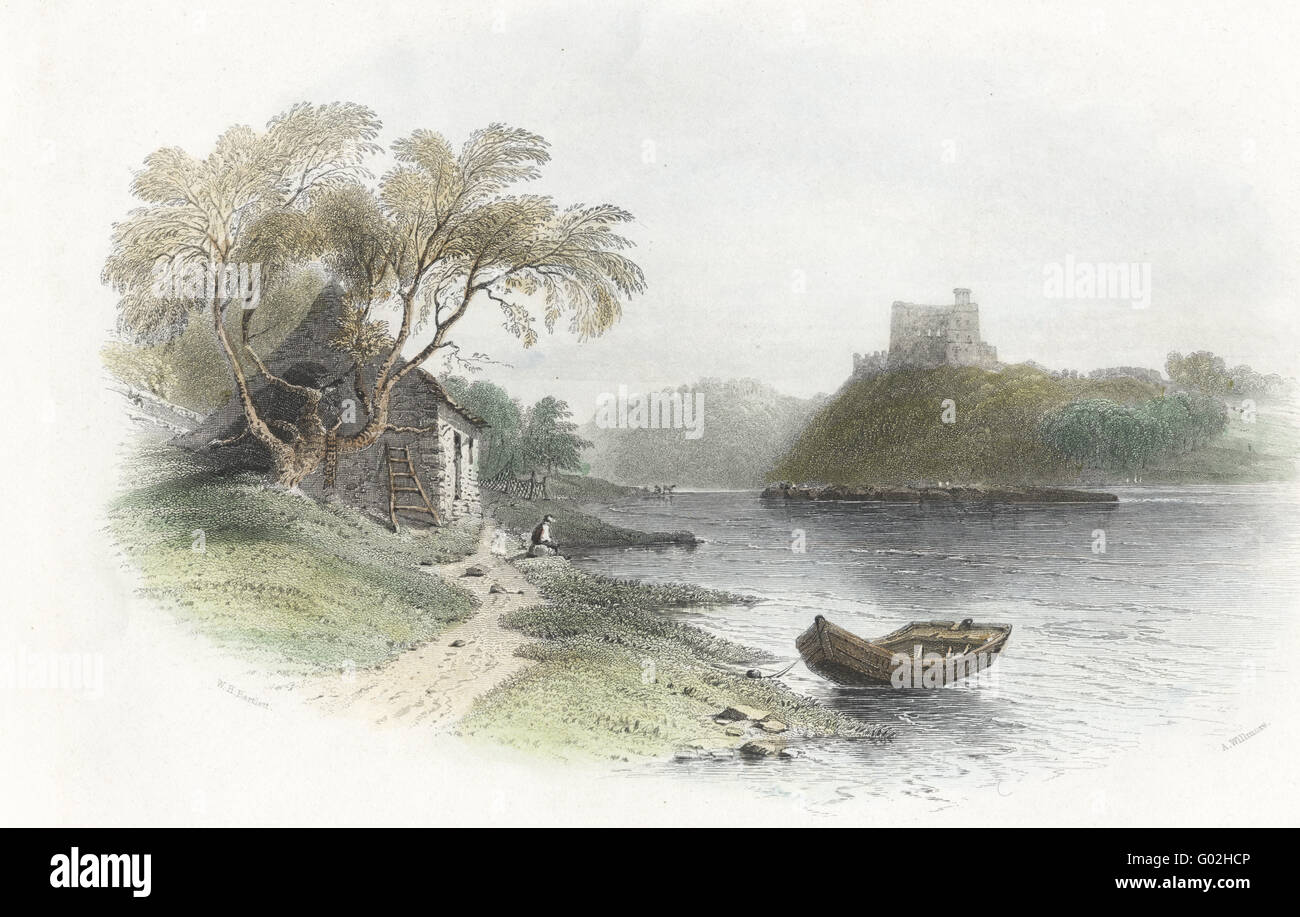 An old print of the English fortress,  Norham Castle from Blount Shiel on the Scottish side of the Tweed - Stock Image