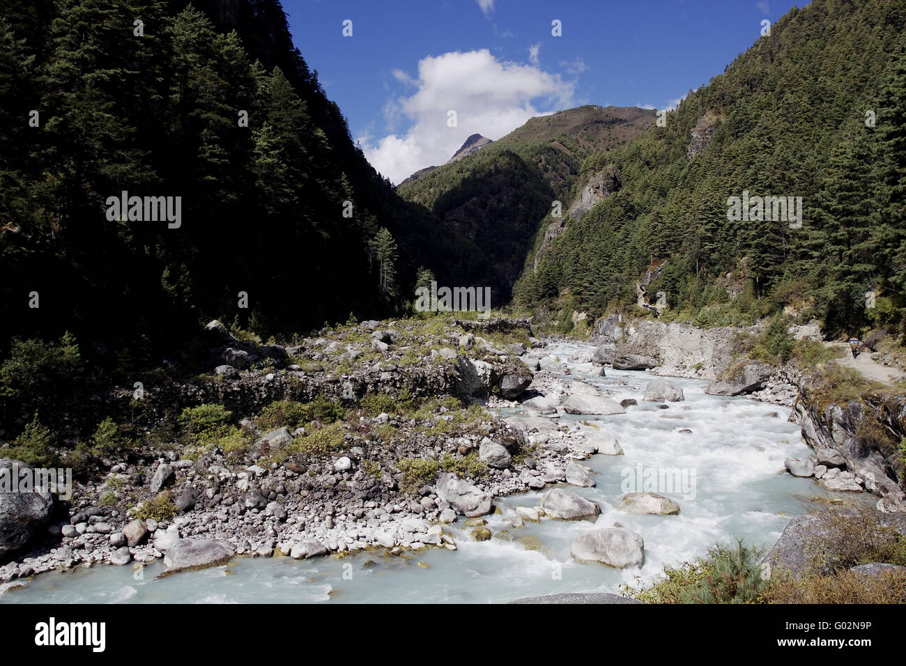 the river dudh kosi in nepal - Stock Image