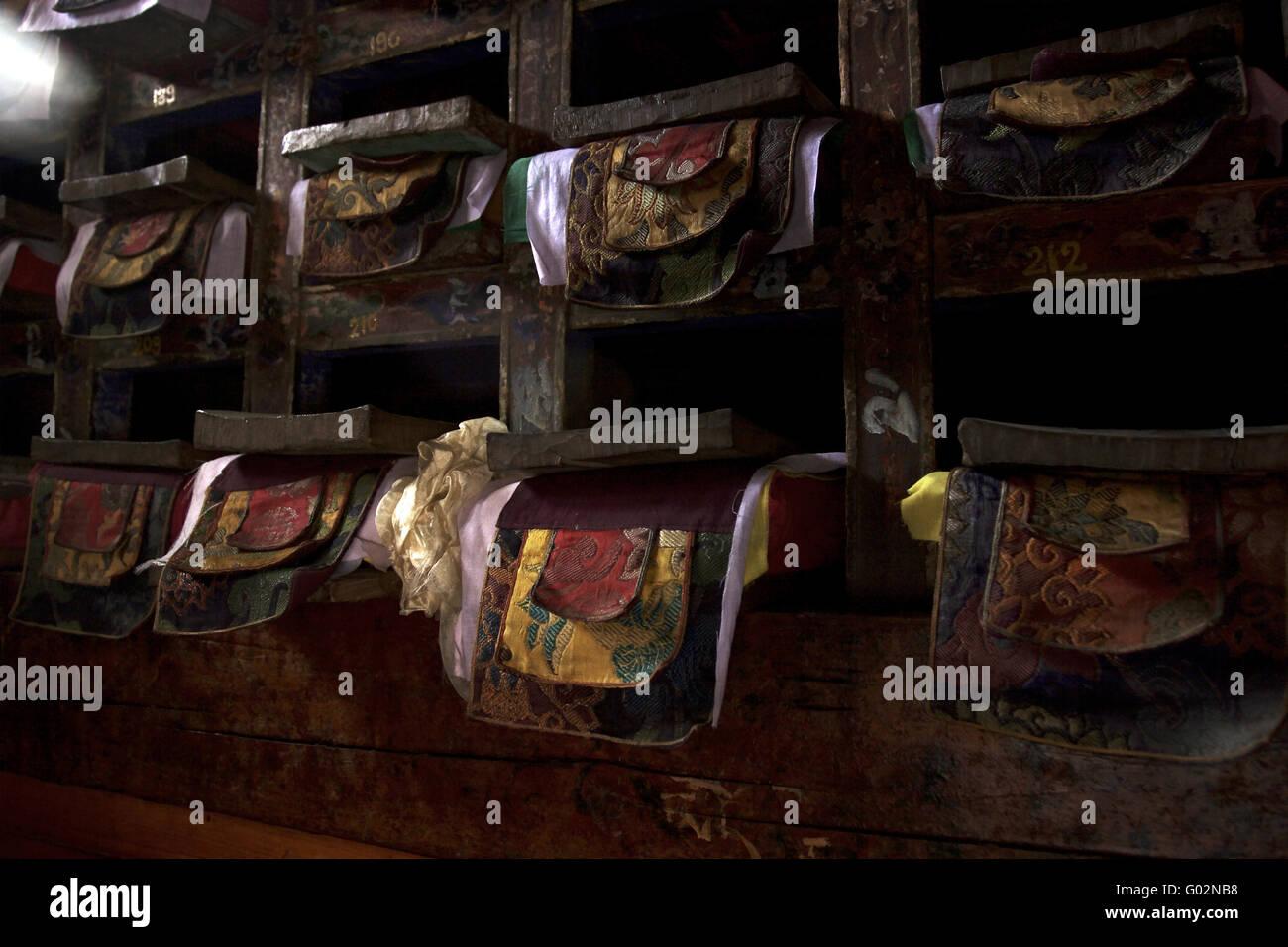 saint writings in a nepali monastery - Stock Image