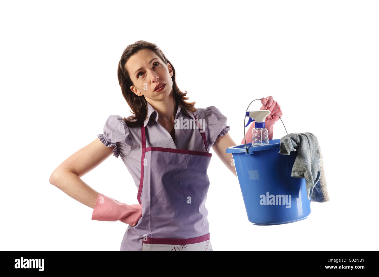 Housewife, cleaning lady with mop bucket frustrating, - Stock Image