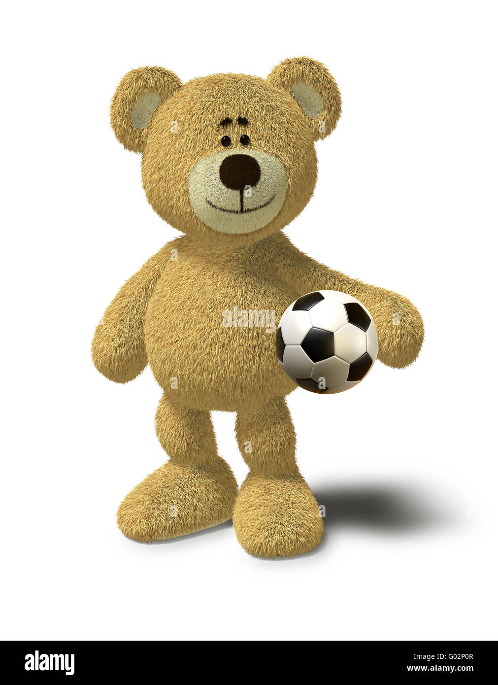 Nhi Bear holds a soccer ball - Stock Image