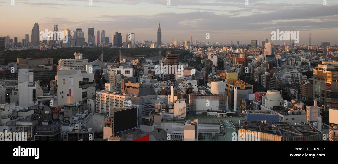 Tokyo City in Japan at sunset Stock Photo