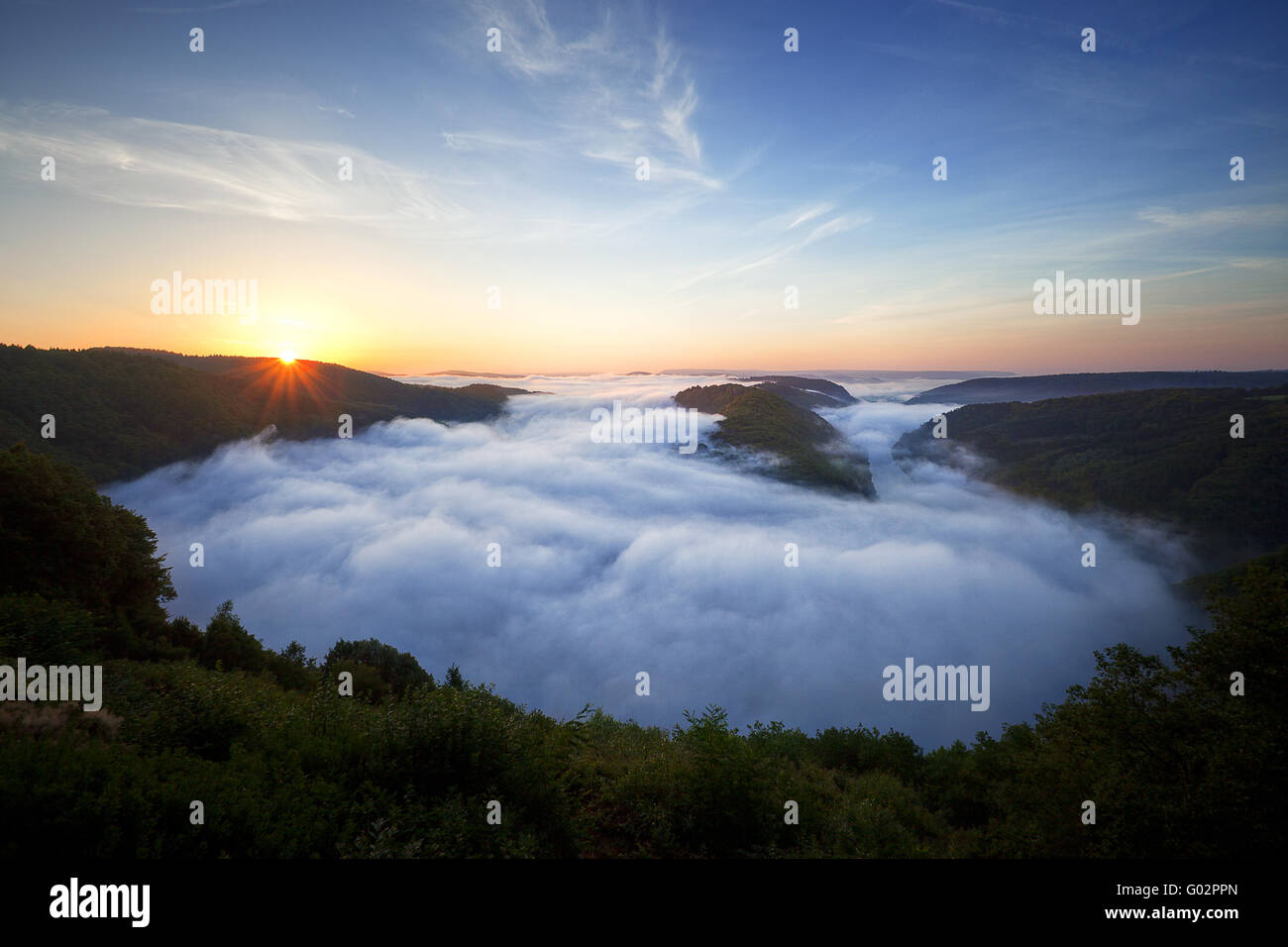sunrise over the Saar loop, near Mettlach, Germany - Stock Image