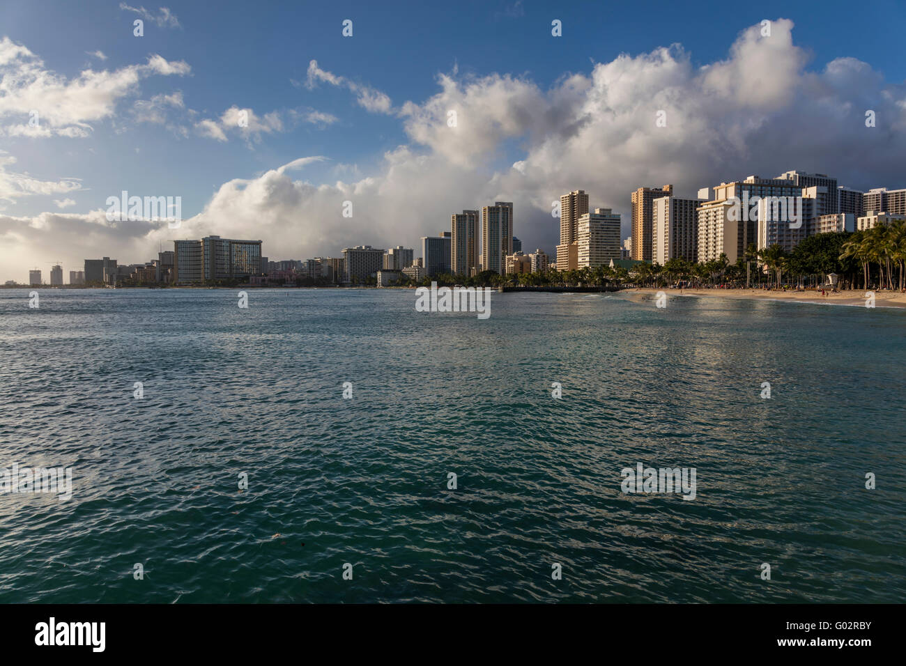 Late afternoon view of Waikiki beaches. - Stock Image