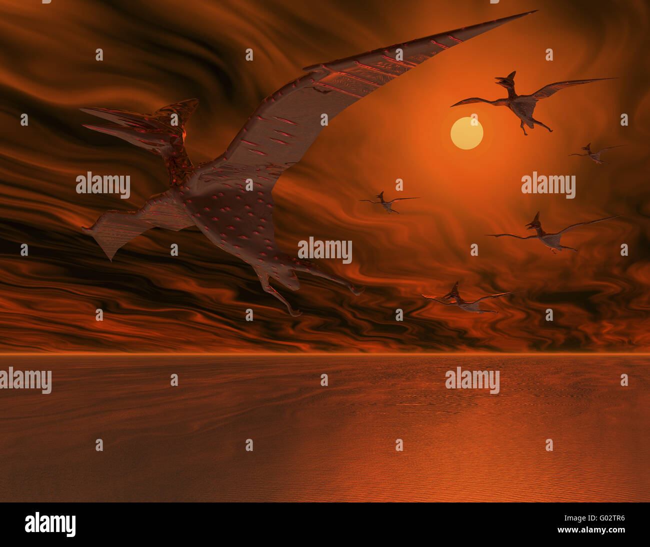 Flugsaurier - Flying dinosaurs Stock Photo