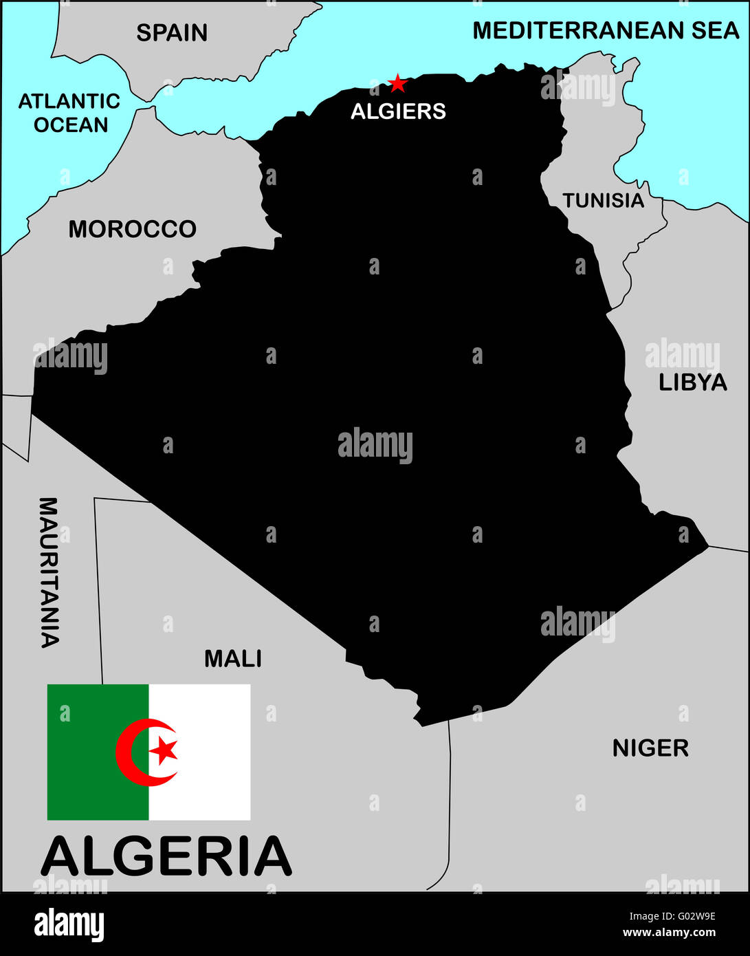 Algeria Political Map - Stock Image