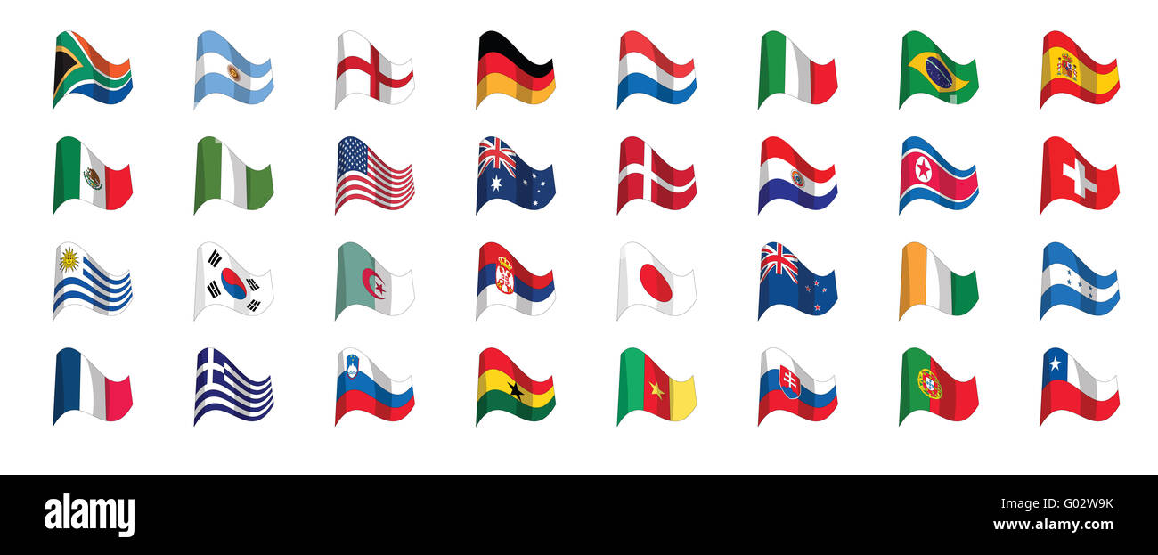 countries flag icons, world cup 2010 south africa - Stock Image