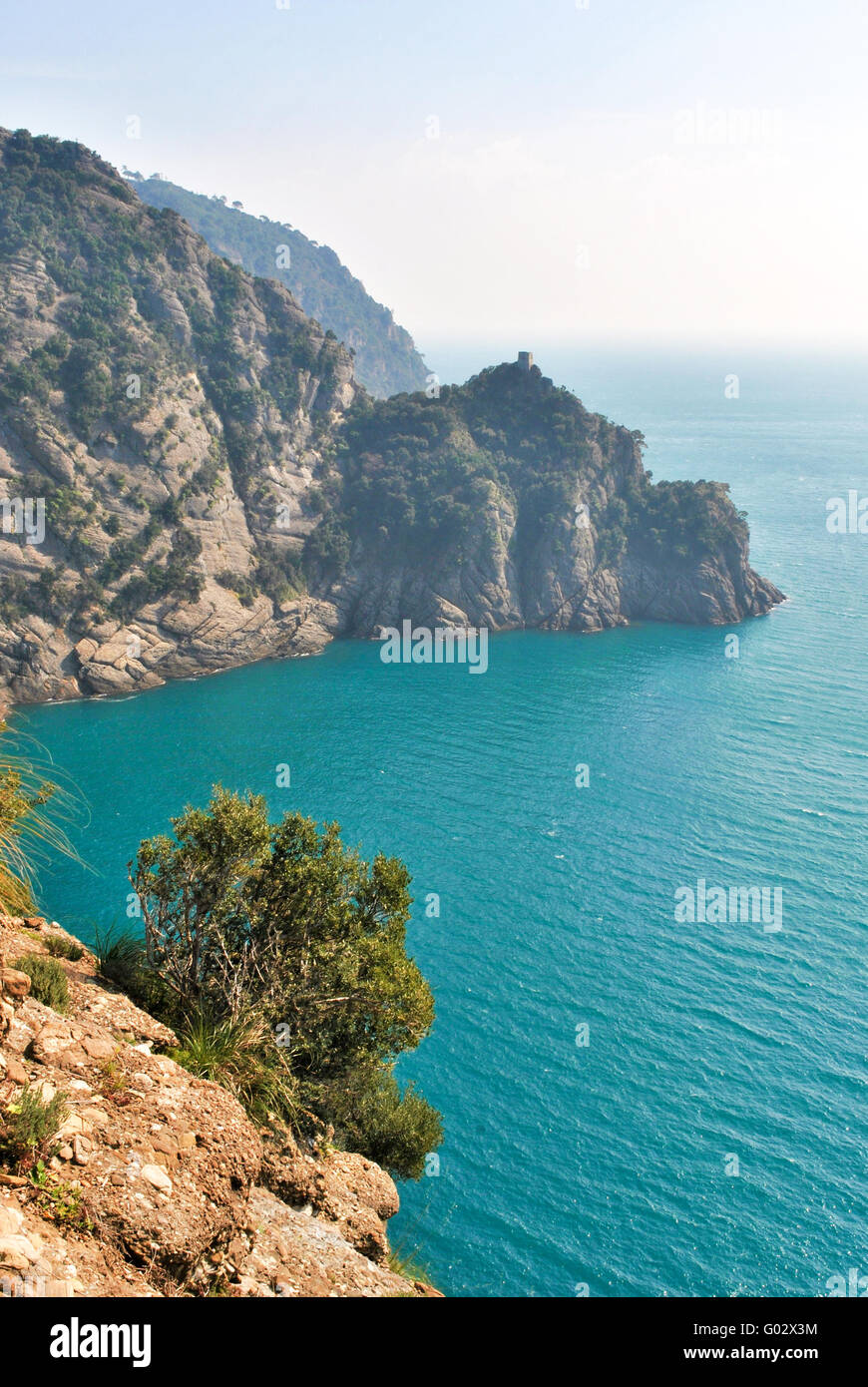 Scenic landscape from a track across the promontory of Portofino - Stock Image
