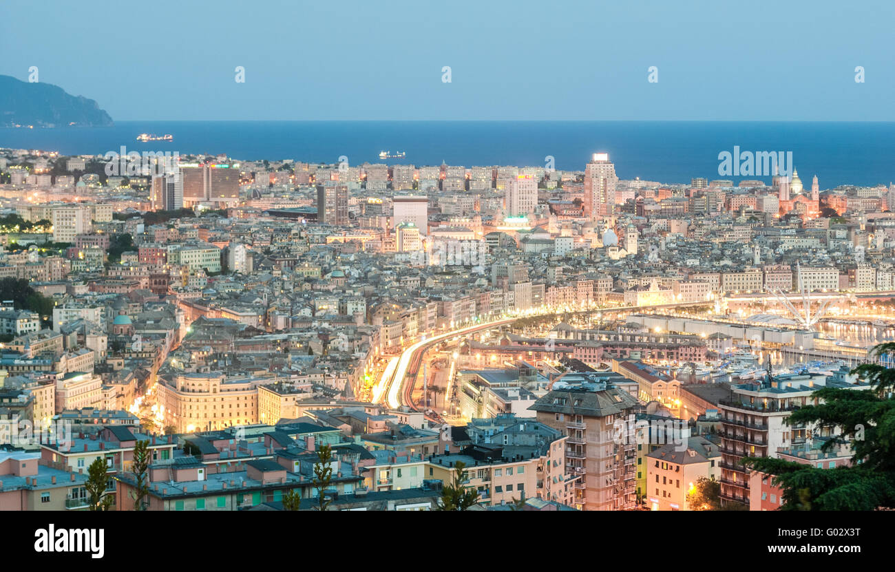 Aerial view of Genoa during the blue hour Stock Photo