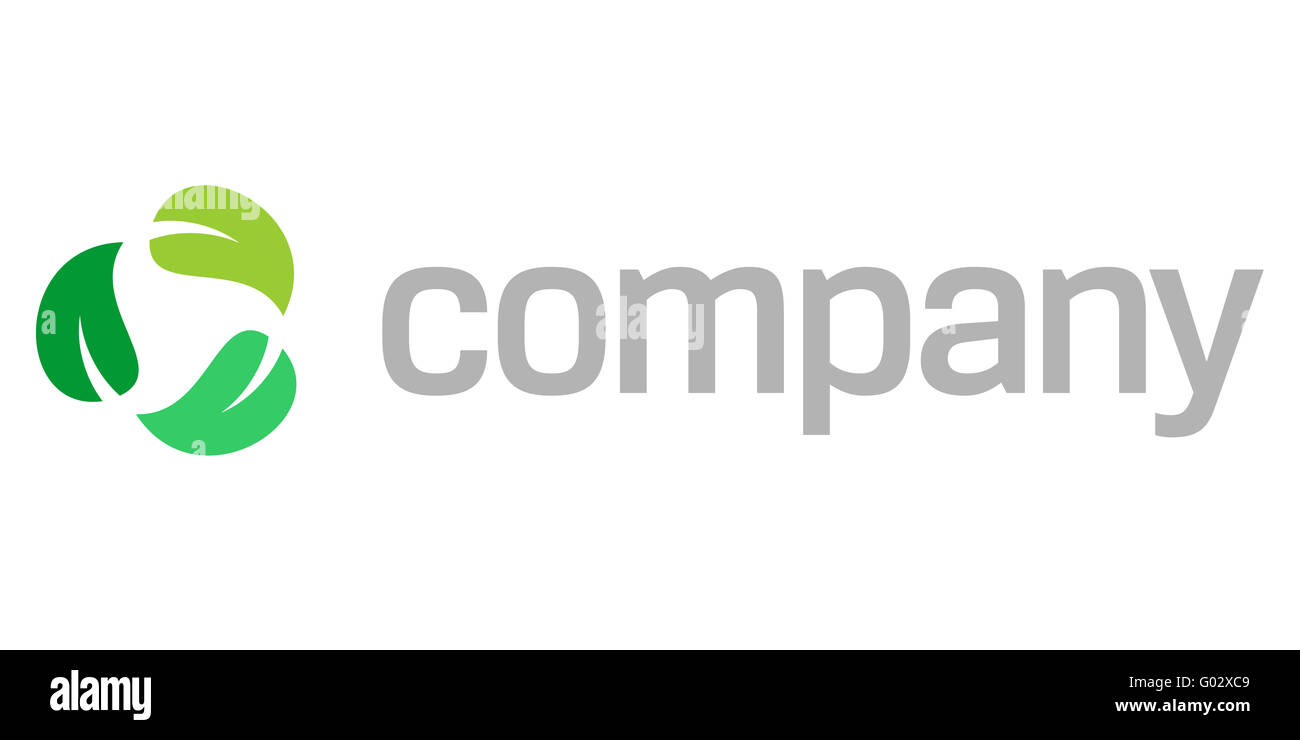 Recycle leaves logo for eco company - Stock Image