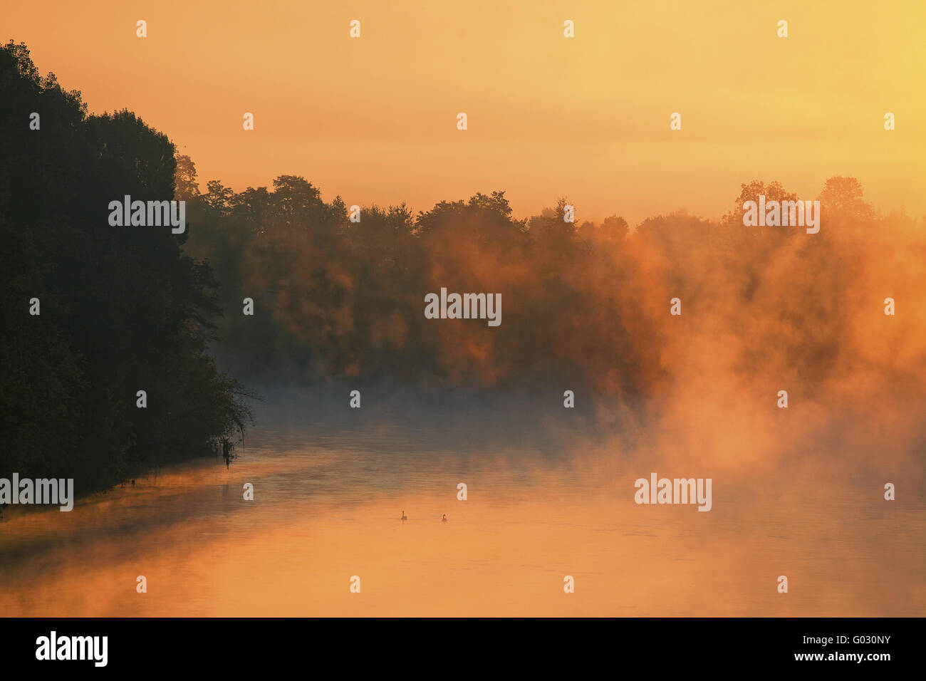 Early morning mist over Dordogne River, France - Stock Image