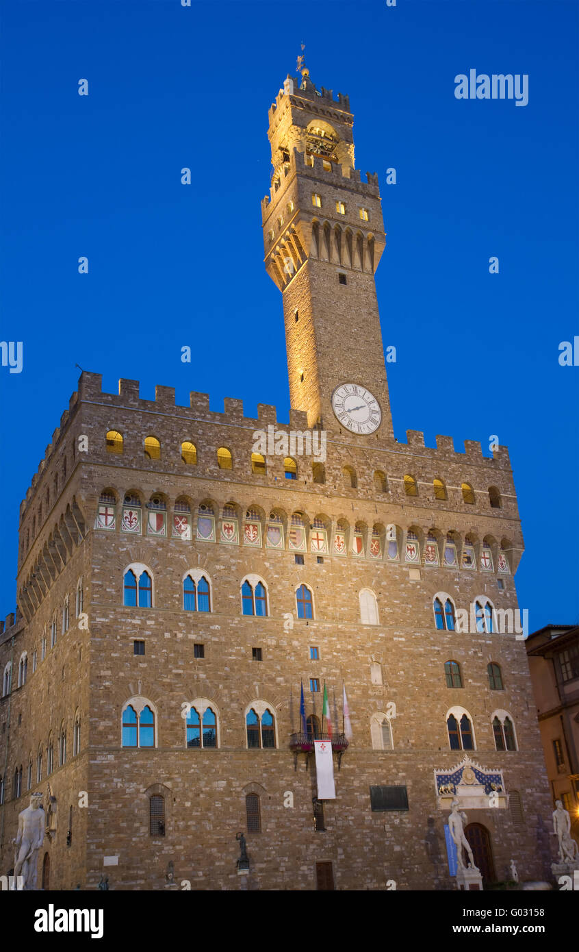 Palazzo Vecchio at the blue hour - Stock Image