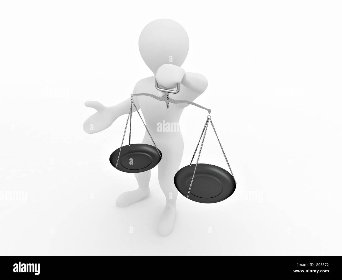 Man with scale. Symbol of justice - Stock Image
