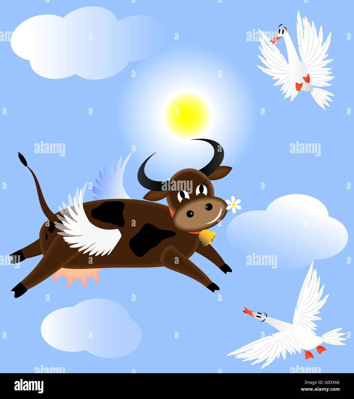 flying cow - Stock Image