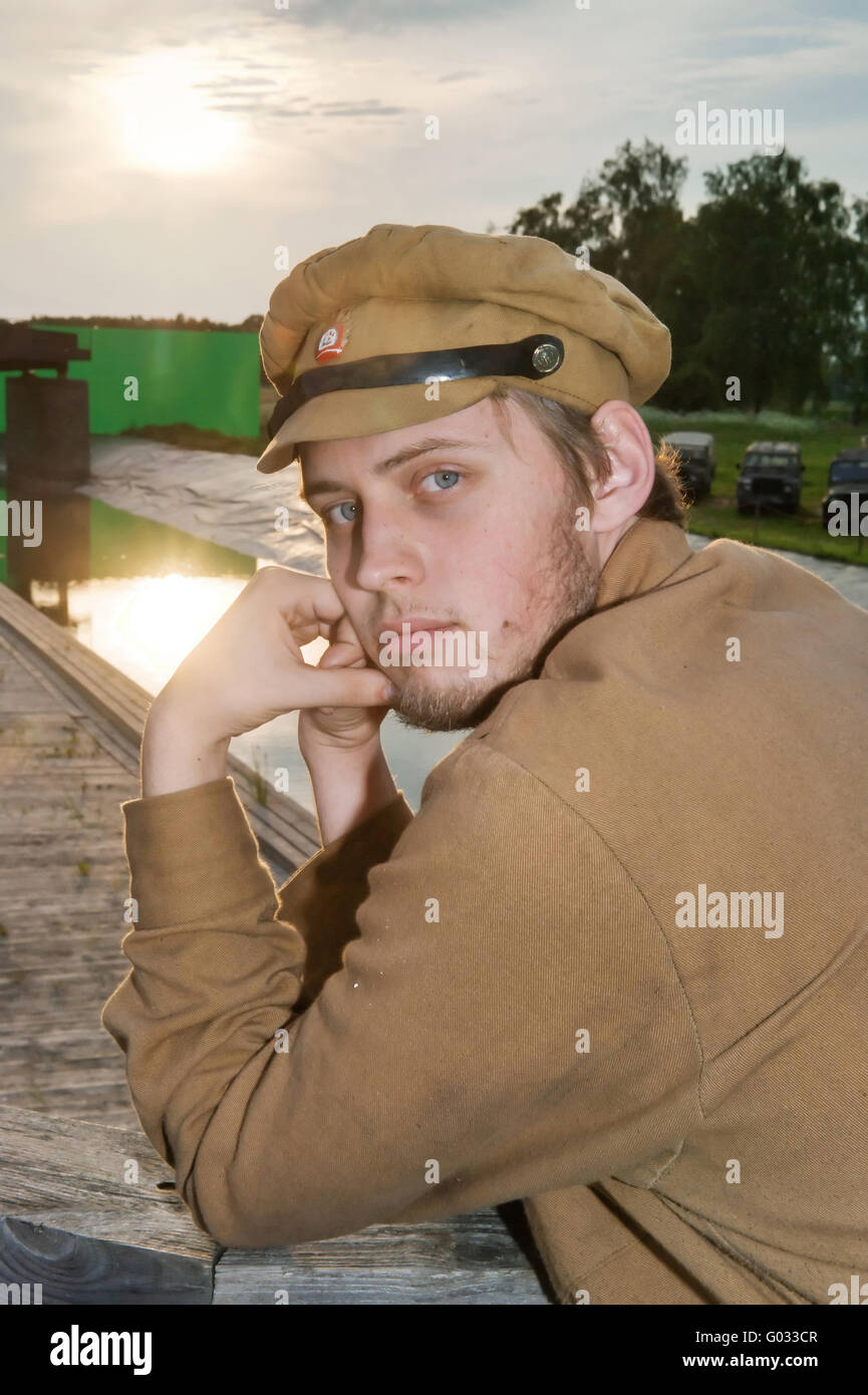 Portrait of soldier in retro style picture - Stock Image