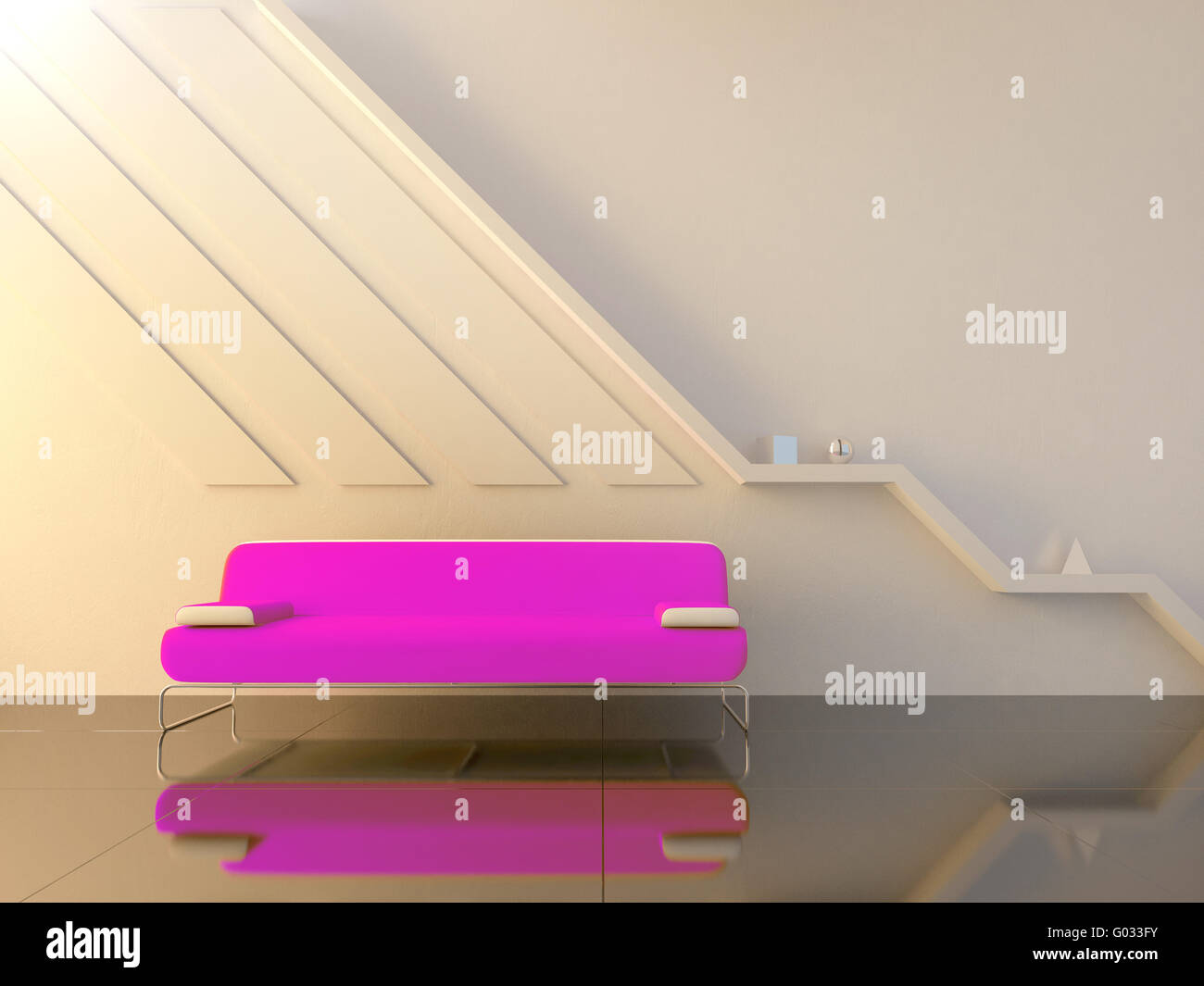 Interior - Violet couch in modern sitting room - Stock Image
