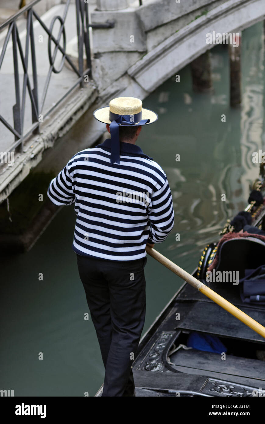 Italy Venice Gondola Gondolier - Stock Image
