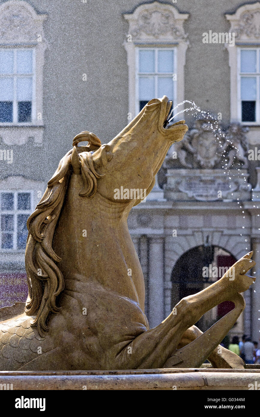 Austria Saltzberg Horse Of The Horse Fountain - Stock Image