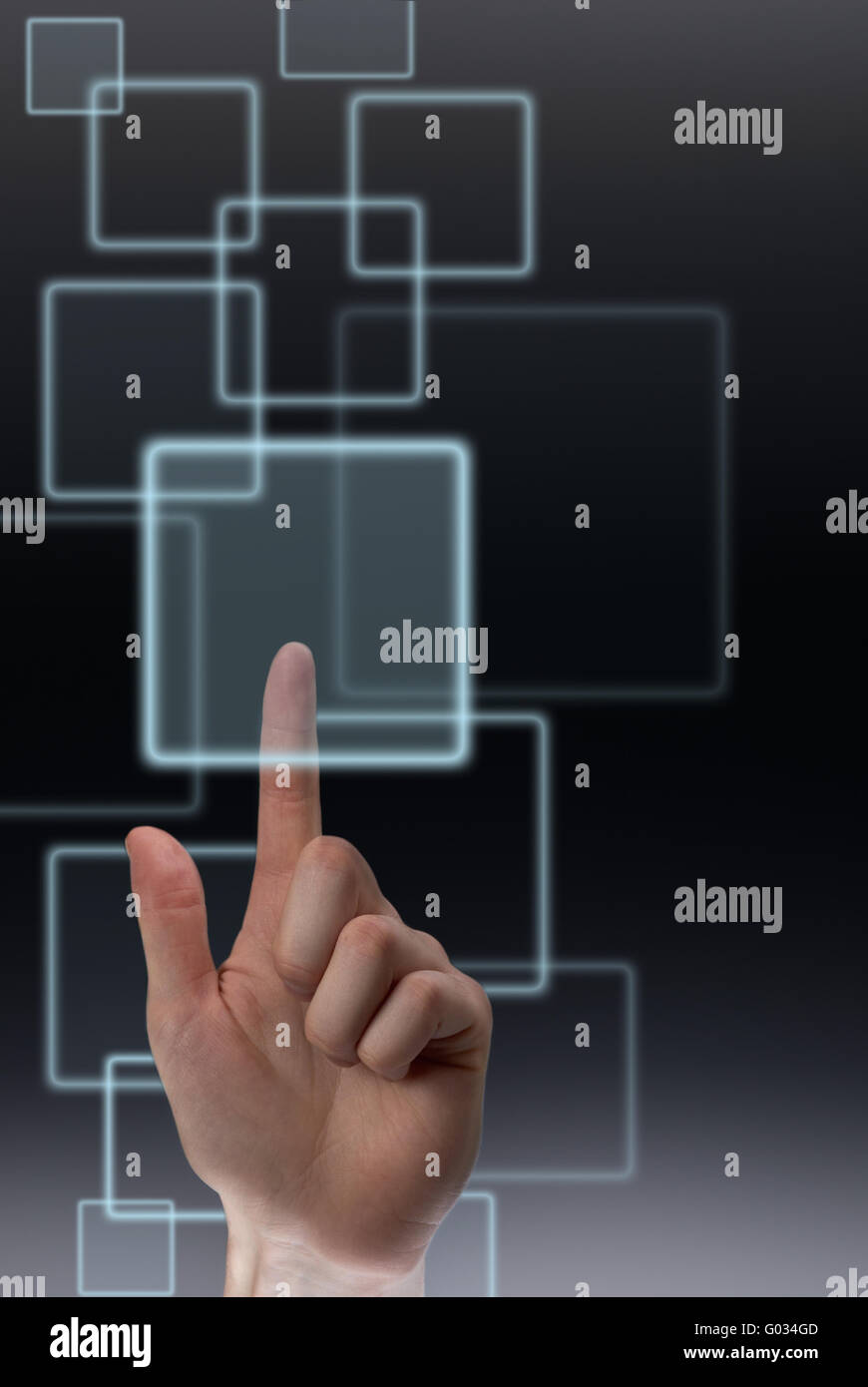 Pushing a button on touch screen - Stock Image